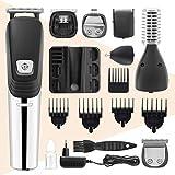 Recortadora de barba y pelo seis en uno, recargable e impermeable, con cargador de afeitadora eléctrica profesional para hombres para nariz y orejas (negro)