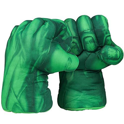 Valeny Guantes de Boxeo 1 par de Superhero Hulk Guantes de Puño Mano Dedos Guantes Suave Juguete de Peluche Cumpleaños Halloween Niños Entrenamiento de Boxeo(Verde)