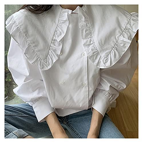 CML Blusa de Mujer Blusa Vintage Turn-Down Colllar Linterna Manga Larga Blusas Femme 2020 Otoño Doble Breasted Camisa Tops 6C149 (Color : White, Size : M)