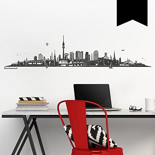 WANDKINGS Wandtattoo - Skyline Dortmund (ohne Fluss) - 200 x 46 cm - Schwarz - Wähle aus 6 Größen & 35 Farben