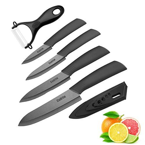 Cadrim Keramikmesser Set,Kochmesser mit Klingenschutz,Allzweckmesser und Messerschärfer,Keramik Küchenmesser zum Schneiden Obst Gemüse Fleisch - Sets of 5,Schwarz