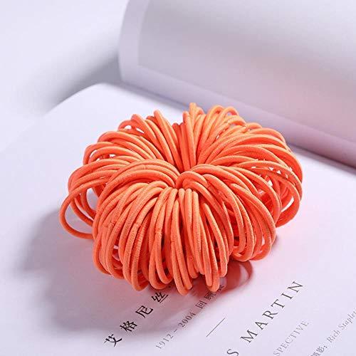 Gouen 100st meisjes snoep kleuren nylon elastische haarbanden kinderen rubberen band hoofdband scrunchie haaraccessoires, oranje