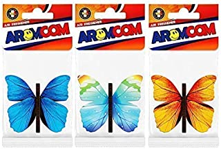Aromcom Car Air Freshener, Butterfly, 3 Pack, Aqua Flower Frangrance, Black Orchid Scent, Sensual Elixir Aroma. Set of 3 Flavours