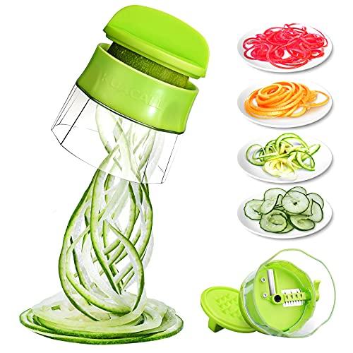 kitchen supreme spiral slicers KUACALL Handheld Spiralizer Vegetable Slicer 4 in 1 Veggie Spiral Cutter Zucchini Noodle Maker Spiral Slicer Great for Salad