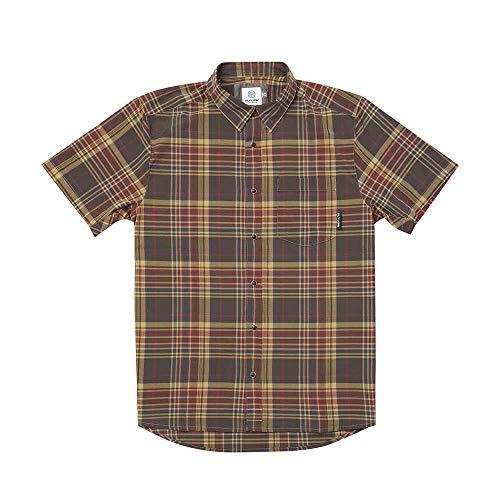 Flylow Men's Anderson Plaid Button Up Short Sleeve Shirt (Stout, S)
