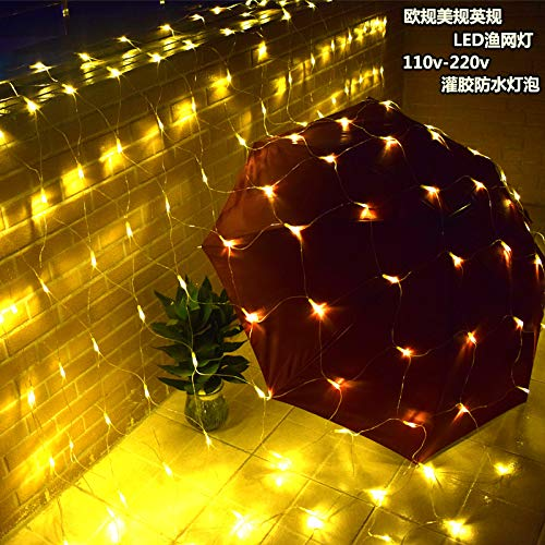 Led festivalverlichting, waterdicht, buiten, versierd met sterren, 2 x 2 m, 144 witte lampen, Engelse meetinstrument