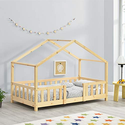 Cama para niños de Madera Pino 80 x 160 cm Cama Infantil con Reja Protectora Casita Forma de casa Pino Natural