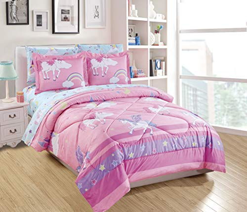 Luxury Home Collection 7 Piece Full Size Comforter Set for Girls/Teens Unicorn Castle Rainbow Clouds Moon Shining Stars Blue Pink Purple Yellow