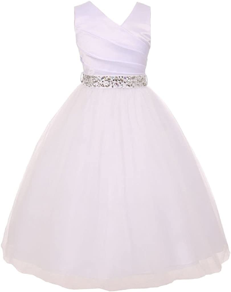 Girls Dress Custom Rhinestone Belt Communion Wedding Flowers Girls Dresses 2-14
