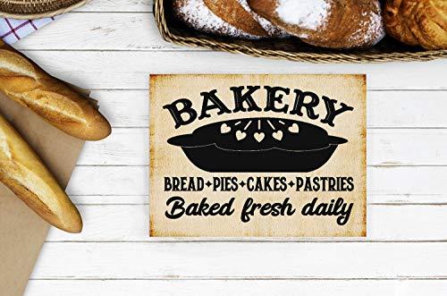 unknow Holzschild Bakery Bakery Baked Fresh Daily Baked Brot Bakery Schild Küchenschild Brotkuchen Kuchen Zuhause Küche Schild Bakery Shop Backen