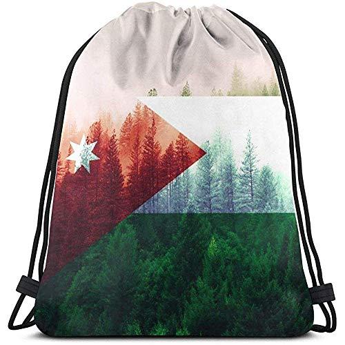 BK Creativity Sportbeutel,Jordan Flag Mit Forest Drawstring Rucksack Tasche, Bequeme Drawstring Gym Taschen Für Gym Outdoor Travel