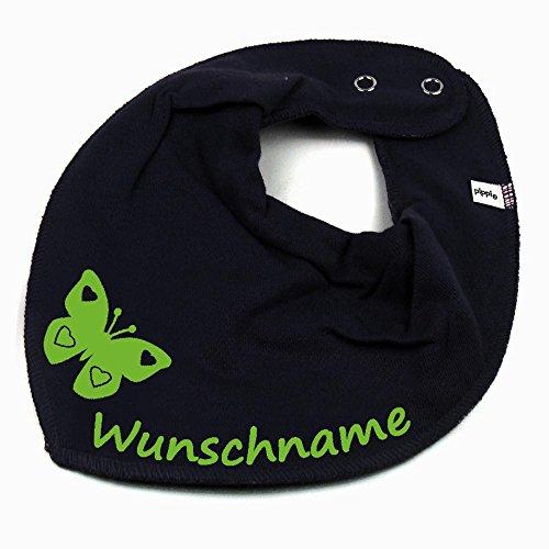 Elefantasie Elefantasie HALSTUCH SCHMETTERLING mit Namen oder Text personalisiert dunkelblau für Baby oder Kind