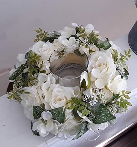 Tischkranz Hortensien und Rosen mit Windlicht auf Kunststoffteller weiß Tischgesteck rund Tischdeko Dekokranz Türkranz Wohndeko