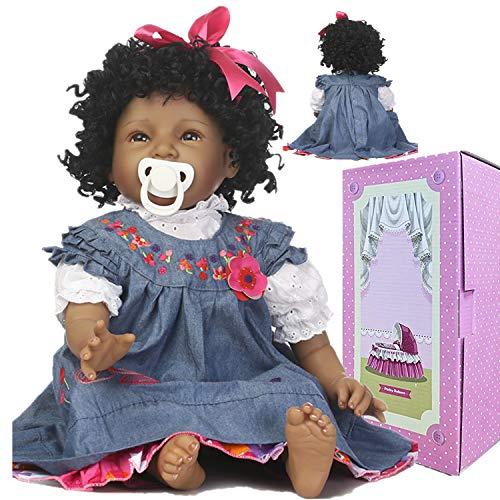Lifelike Reborn Baby Dolls African American Black Girl Eyes Open 22 Inch Newborn Silicone Baby Doll Handmade Weighted Reborn Doll Curly Hair