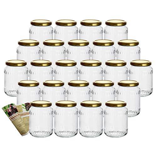 gouveo 24er Set 720 ml Einmachgläser mit Facetten und Schraubverschluss Gold, Gläser zum Einkochen, Aufbewahrungsgläser (24, 720 ml Gold)