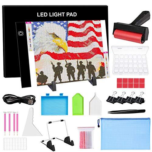 A4 Diamond Painting Light Pad Kit LED Three Adjustable Brightness Tracing Light Table for 5D Diamond Painting,Drawing,USB Power Tracing Light Box,Ultra-Thin LED Copy Board