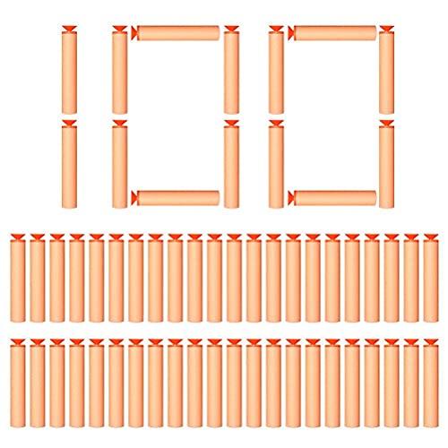 Flechas de Dardos para Accesorios Nerf, 100 Piezas Flechas de Burbujas Suaves de EVA Dardos con Ventosa, Balas de Recarga para N-Strike Elite, Paquete de Recarga de Juguetes (7.2cm)