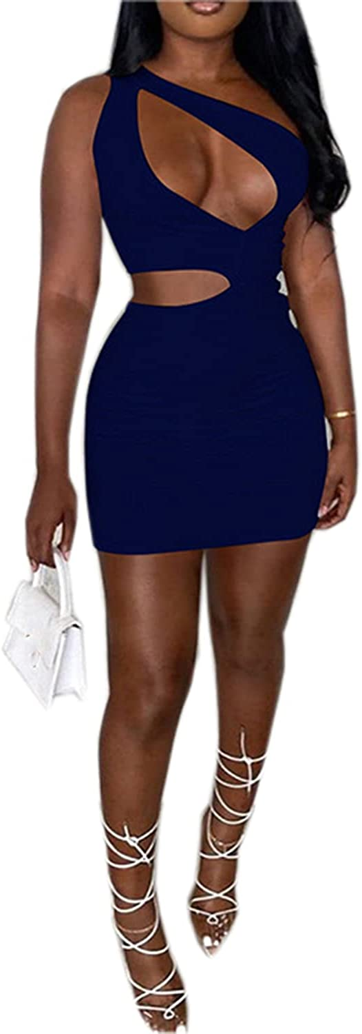 Remelon Womens One Shoulder Sleeveless Cut Out Bodycon Party Club Short Mini Dresses