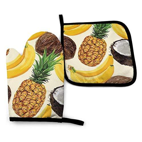 Ofenhandschuhe Set Ananas Banane Küchenofen Handschuhe Hitzebeständiges Topf Pad zum Grillen Kochen Backen Grillen