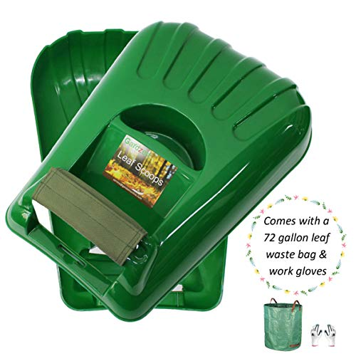 Gardzen Large Leaf Scoop Hand Rakes Fast Leaf, Debris and Yard Waste Removal, Comes with 72 Gallon Garden Bag, Work Gloves, Protective Paddings