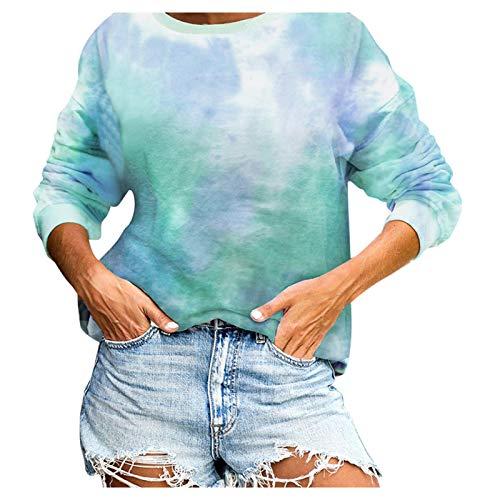XLKJ 2021 Fashion Tie-Dye Printed Gradient Sweatshirt Long Sleeve O-neck Streetwear Sweatshirts Women Casual Pullovers Green