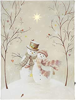 RAZ Imports LED Canvas Print — Lighted Picture of a Snowman Couple on a Winter Day — 12