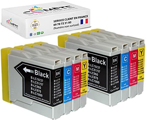 Cometa LC970 LC1000 - Cartuchos de tinta compatibles con impresoras Brother DCP135C, DCP150C, DCP153C, DCP157C, MFC235C y MFC260C (8 unidades), color negro, 2 cian, 2 magenta y 2 amarillo