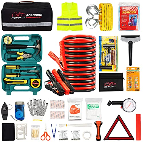 HLWDFLZ Car Roadside Emergency Kit,with13FT Jumper Cables,Winter Traveler Safety Emergency Kit with Blanket Shovel Triangle First Aid Kit for SUV RV