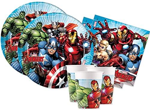 ILS I LOVE SHOPPING Juego de mesa para decoración de fiestas con temática de los Vengadores de Superoi con 8 platos de 23 cm, 8 vasos y 20 servilletas (Mighty Avengers)