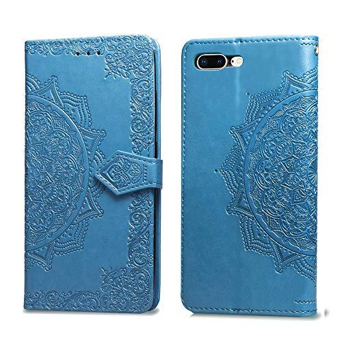 Funda Compatible con iPhone 7 Plus Carcasa ,iPhone 8 Plus Fundas Cuero Billetera Tapa con Cierre Magnético Y Ranura Protector Antigolpes Case (iPhone 7/8 Plus, Azul)