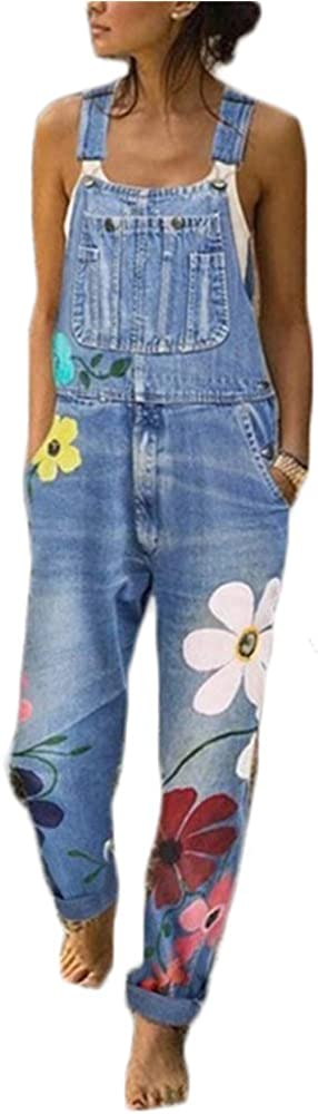 Hotexy Combinaison Femme Salopette en Jeans Slim Jumpsuit Pantalon Floral Casual Grand Taille pour Printemps Automne