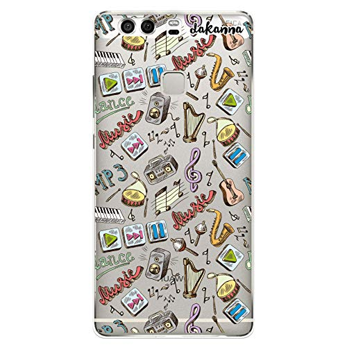 dakanna Funda Compatible con [Huawei P9 Plus] de Silicona Flexible, Dibujo Diseño [Pattern Instrumentos de Musica con Frase], Color [Fondo Transparente] Carcasa Case Cover de Gel TPU para Smartphone