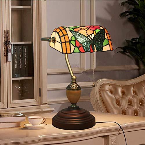 GUOGEGE Tiffany Banker tafellamp, barokke vlinderbank bureau licht gekleurd glas handgemaakte lampenkap decoratieve nachtkastje woonkamer slaapkamer kantoor, YF027