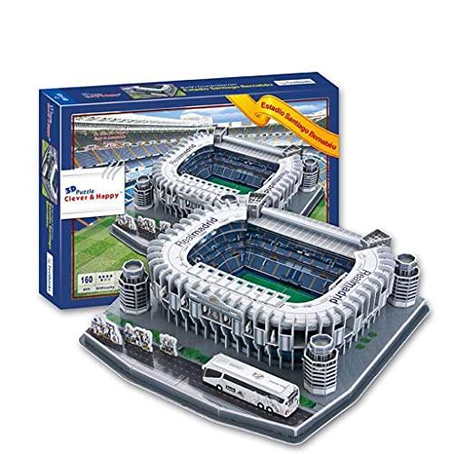 Rompecabezas 3D Estadio Santiago Bernabeu Modelo del estadio, Modelo del estadio del Real Madrid Recuerdo del fanático del fútbol Regalo para niños