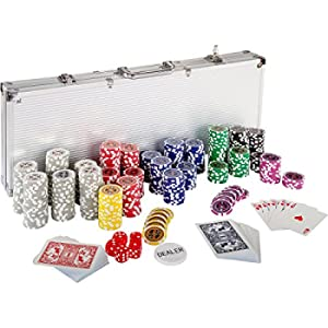 Set da Poker con 500 Chips di 12 G (Cuore in Metallo), 2 Mazzi da Poker, Custodia per Carte da Poker in Alluminio, 5 Dadi, 1 Pedina per Il Dealer, Fiches E Gettoni
