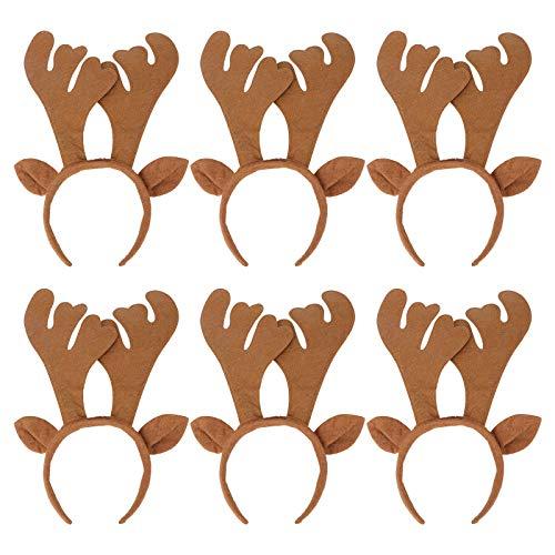 Frcolor Weihnachten Geweih Stirnband mit Ohren Haarband Weihnachts Haarschmuck Kopfbedeckung Cosplay Kostüm 6 Stück (Braun)