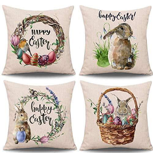 LAVALINK 4 Piezas Funda De Almohada Pascua Cojín De Algodón Feliz Pascua Conejo Funda De Almohada del Sofá Fundas De Almohadas De Pascua Decoración para Hogar para Decoración