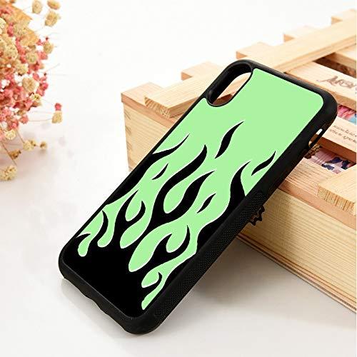 WGOUT para iPhone 5 5S 6 6S Funda de Silicona Suave de TPUpara iPhone 7 Plus XX 11 Pro MAX XRFundade teléfono de Llama Negra con Fondo Verde, para iPhone 5
