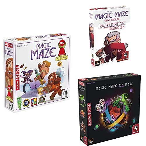 Pegasus Spiele 57200G - Magic Maze + Zwielichtige Gestalten + Magic Maze on Mars