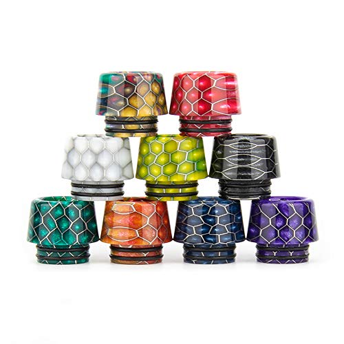810 Drip Tip for All 810 Thread Connector, 2PCS Cobra Pattern Tapered Resin Drip Tips, Attached Rubber O-Rings(2PCS, Black + Rainbow)
