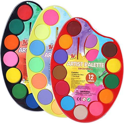 YZHM El Mejor Conjunto de Pintura Acuarela de artesanía, 36 Acuarela Vibrante con 3 paletas de Pintura Individual, Suministros de Pintura portátil, Ideal para niños y Principiantes