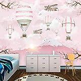 Pink world Mural Mural de Papel Tapiz de Fondo de TV Grande volcán de Globo aerostático de Dibujos Animados nórdicos 3D-Aproximadamente 400 * 280 cm
