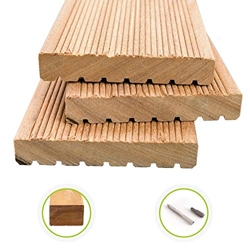 HORI® Bangkirai-Terrassendielen Premium I Komplettset, massive Holz-Terrassendielen I Dielenlänge 2,44 m I Fläche 5 m²
