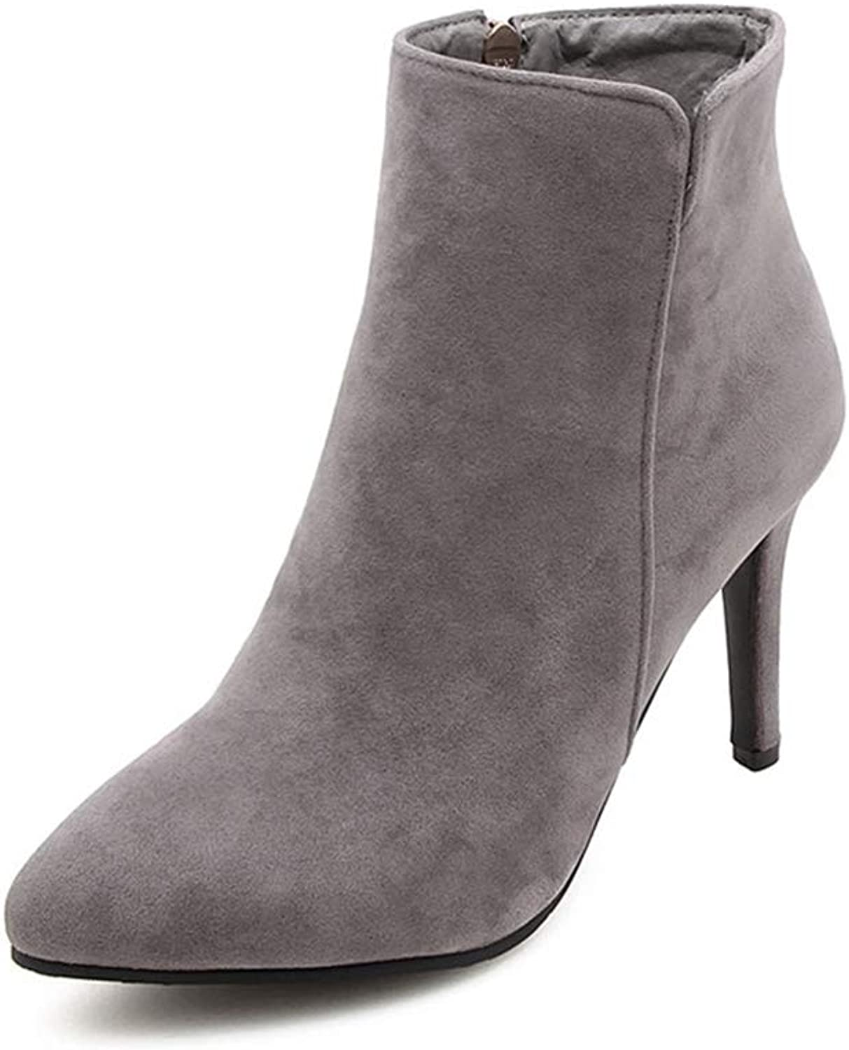 T-JULY Autumn Winter Woman High Heels Suede Ankle Sexy Pointed Toe Metal Martin Plus Size shoes
