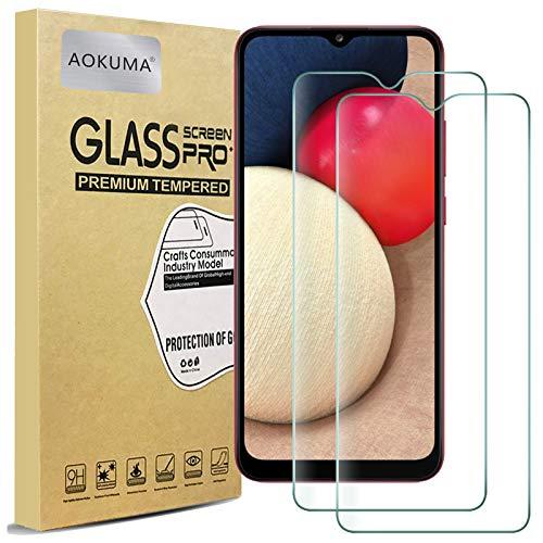 AOKUMA für Samsung Galaxy A02S Panzerglas, 【2 Stücke】Glas kompatibel mit Samsung Galaxy A02S Schutzfolie, Premium Glasfolie mit 9H Festigkeit, Anti Kratzer, Splitterfest,Anti-Öl,Anti-Bläschen