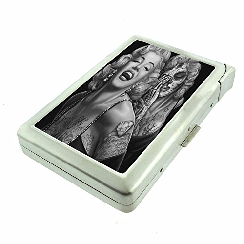 """Cigarette Case with Built in Lighter Sugar Skull S19 Smoking King Size Cigarettes Silver Metal Wallet 4"""" X 2.75"""" RFID Protection Candy"""