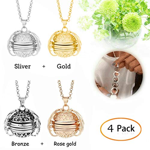 Hukz 4 Stücke Damen Kette Foto Halskette Bilder Amulett Ball Medaillon Aufklappbar, Expanding Photo Locket Necklace Pendant, Geschenk für Frauen Pärchen Mutter Tochter Valentinstag