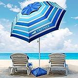 8FT Large Beach Umbrella, FRETREE Portable Outdoor Umbrella with UPF50+ UV Protection, Sandbag, Air Vents, Sand Anchor, Push Button Tilt Pole, Windproof Sunshade Shelter for Beach, Sand, Patio, Yard…