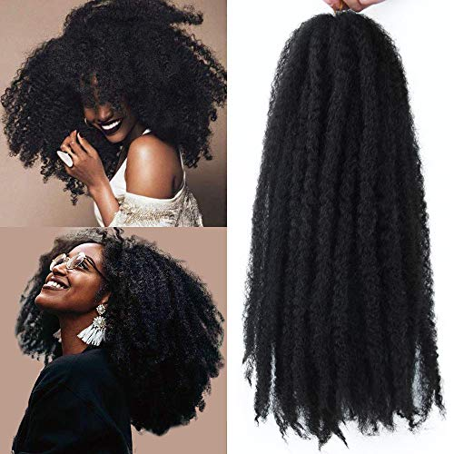 GX Beauty 4 Packs Marley Hair Afro Kinky Curly Crochet Hair 18 Inch Long Marley Twist Braiding Hair Kanekalon Synthetic Marley Braids Hair Extensions(1B#)
