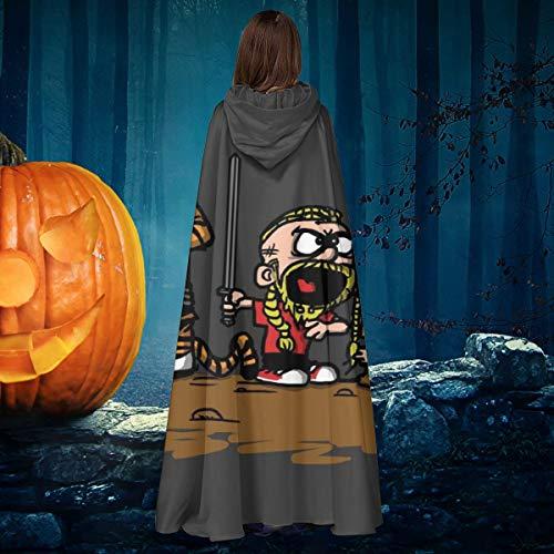 NULLYTG Calvin and Hobbes Vikings Ragnar Lothbrok - Capa de Disfraz de Bruja con Capucha para Halloween, Disfraz de Vampiro